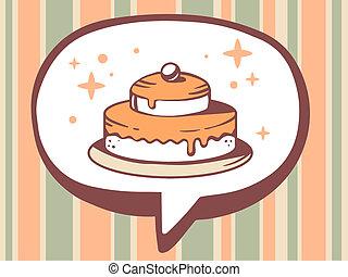 illustration of speech bubble with icon of cake on orange
