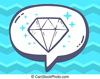 illustration of speech bubble with icon of diamond on blu