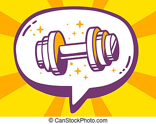 illustration of speech bubble with icon of dumbbell on ye