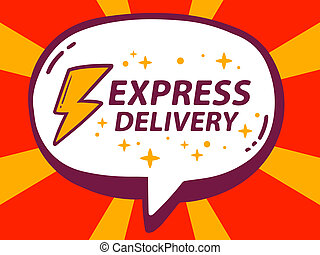 illustration of speech bubble with icon of express delive