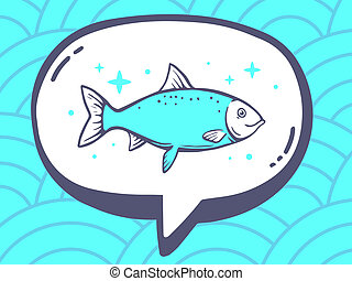 illustration of speech bubble with icon of fish on blue p
