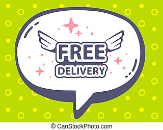 illustration of speech bubble with icon of free delivery