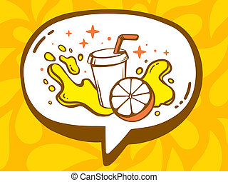 illustration of speech bubble with icon of fresh fruit ju