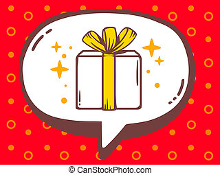 illustration of speech bubble with icon of gift box on re