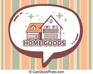 illustration of speech bubble with icon of home goods on