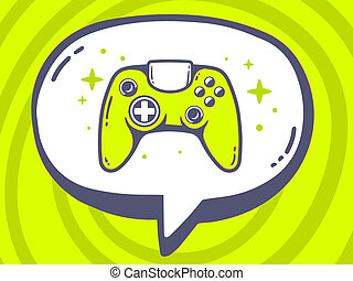 illustration of speech bubble with icon of joystick on gr
