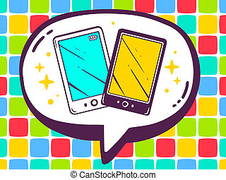 illustration of speech bubble with icon of phones on colo