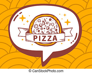 illustration of speech bubble with icon of pizza on yello