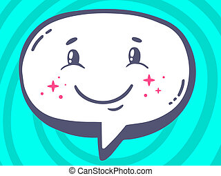 illustration of speech bubble with icon of smile on blue