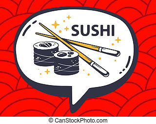 illustration of speech bubble with icon of sushi on red p