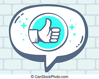 illustration of speech bubble with icon of thumb up on gr
