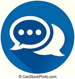 speech bubbles circle blue icon