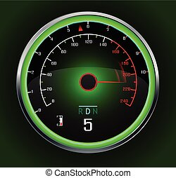 Speedometer isolated on dark
