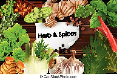 Spices and herbs on brown woode - Illustration of Spices and...