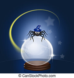 spider with magician hat