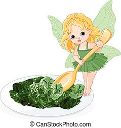 Spinach Fairy - Illustration of Spinach Fairy with plate of...