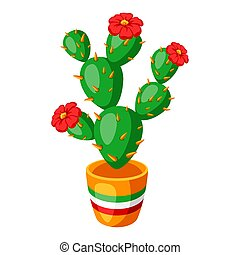 Illustration of spiny cactus with flowers.