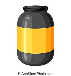 Illustration of sports nutrition jar.