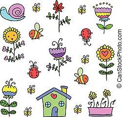 Illustration of spring flower set doodles