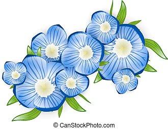 Illustration of Spring Forget-me-not Flower Branch
