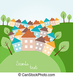 Illustration of spring hilly landscape with houses
