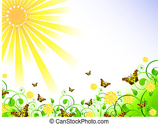 illustration of spring theme with swirls, butterfly, foliage, sun