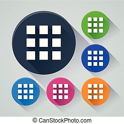 squares circle icons with shadow