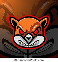 Squirrel head esport mascot logo