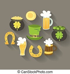 St Patrick Day icons - Illustration of St Patrick Day icons