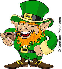 Illustration of St. Patrick\'s Day leprechaun smoking a pipe...