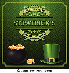 St. Patrick's day with golden coins and hat