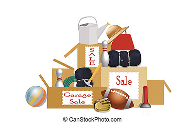 garage sale - illustration of stacked boxes full of items ...