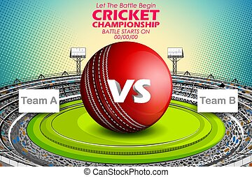 Stadium of Cricket with ball on pitch and VS versus text