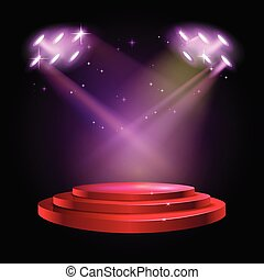 Stage Podium Scene with for Award Ceremony on red Background