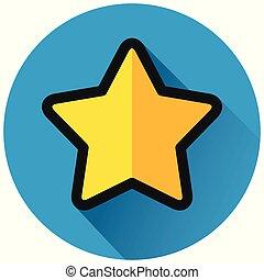 star circle flat blue icon