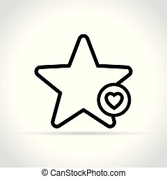 star with heart icon on white background