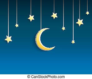 Stars and crescent moon