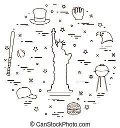 Illustration of statue of Liberty, eagle head, stars, hamburger, bat and ball for baseball, barbecue, baseball cap, hat arranged in a circle.