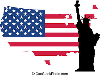 statue of liberty on flag