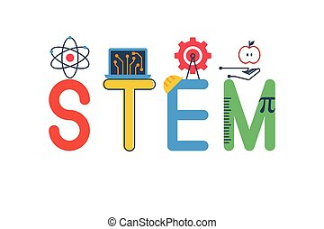 Illustration of STEM - science, technology, engineering, mathematics education word typography design in colorful fun theme with icon ornament elements