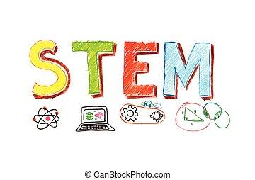 Illustration of STEM word banner - Illustration of STEM -...
