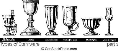 illustration of Stemware types - Types of Stemware. Vector...