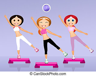 step aerobic - illustration of step aerobic