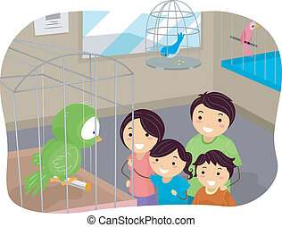 Stickman Family Buying a Bird From a Pet Store