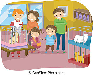 Stickman Family Buying a Cat From a Pet Store - Illustration...