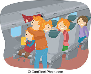 Illustration of Stickman Family Inside an Airplane