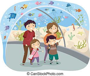 Illustration of Stickman Family Visiting an Oceanarium