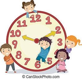 Illustration of Stickman Kids on a Big Clock