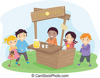 Stickman Kids on a Lemonade Stand - Illustration of Stickman...