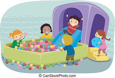 Stickman Kids Playing in an Inflatable Ball Pit